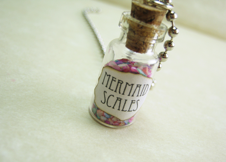 Mermaid Scales 1ml Glass Vial Necklace - Mermaids Glass Bottle Pendant