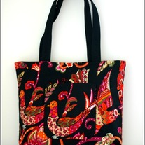 Market Tote - Talavera Bird in Black