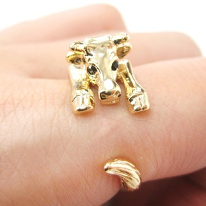 Miniature Baby Cow Bull Animal Hug Wrap Ring in Shiny Gold - Sizes 4 to 9