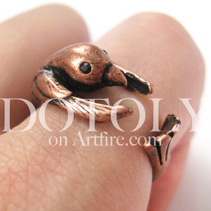 Miniature Hummingbird Bird Animal Wrap Around Ring in Copper - Sizes 4 to 9 Available