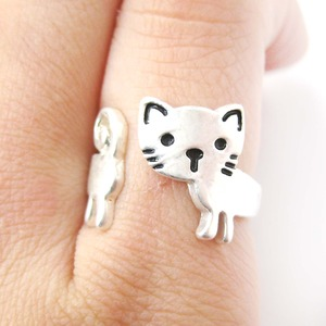Cute Simple Kitty Cat Shaped Animal Wrap Ring in Silver | Size 5 to 7