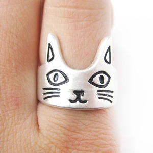 Simple Kitty Cat Face Shaped Animal Ring in Silver | Size 6 Only