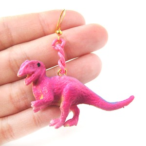 3D Dinosaur Shaped Animal Figurine Dangle Earrings in Pink