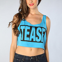 The Tease Crop Top in Neon Blue