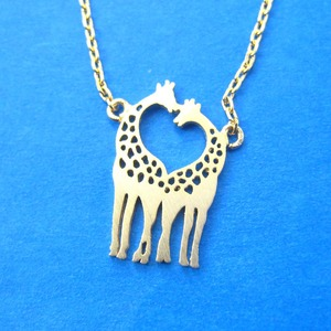 Mother and Baby Giraffe Shaped Animal Pendant Necklace in Gold