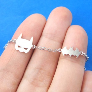 Classic Batman Bat Logo and Bat Mask Shaped Charm Bracelet in Silver