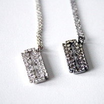 Mini Silver Gunmetal Rhinestone Razorblade  Necklace
