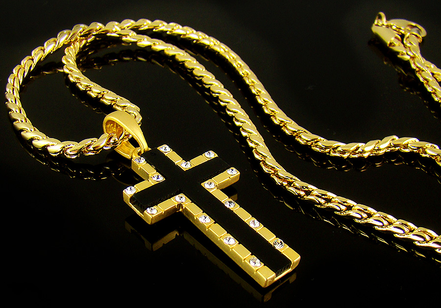 Mens cross necklace 12 18k gold nano injection plated mens onyx mens cross necklace 12 18k gold nano injection plated mens onyx cross pendant chain necklace audiocablefo