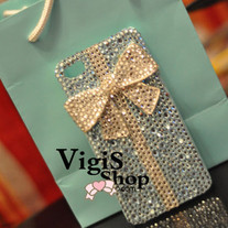 New Bling Sparkle Crystals Tiffany Style White Bow Blue iPhone 4/4S Case