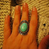 Turquoise/Metal-Framed Ring
