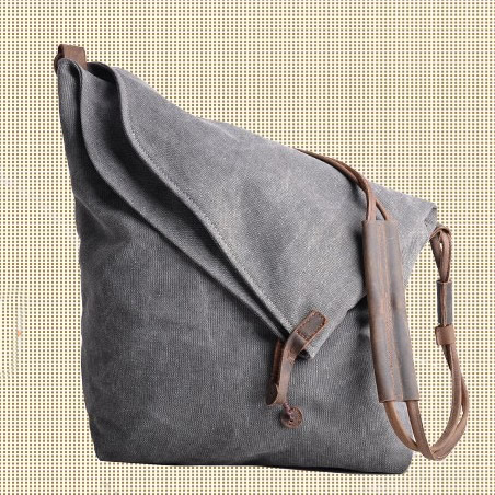 Fashion Leather Canvas Bag Briefcase Messenger Bag 14' Laptop Bag ...