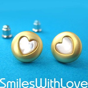 Simple Round Gold Stud Earrings with Heart Shaped Detail- ALLERGY FREE
