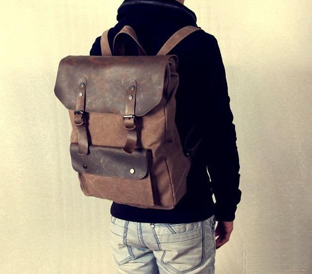 Large Antique Handmade Leather Backpack / Satchel / Travel Bag ...