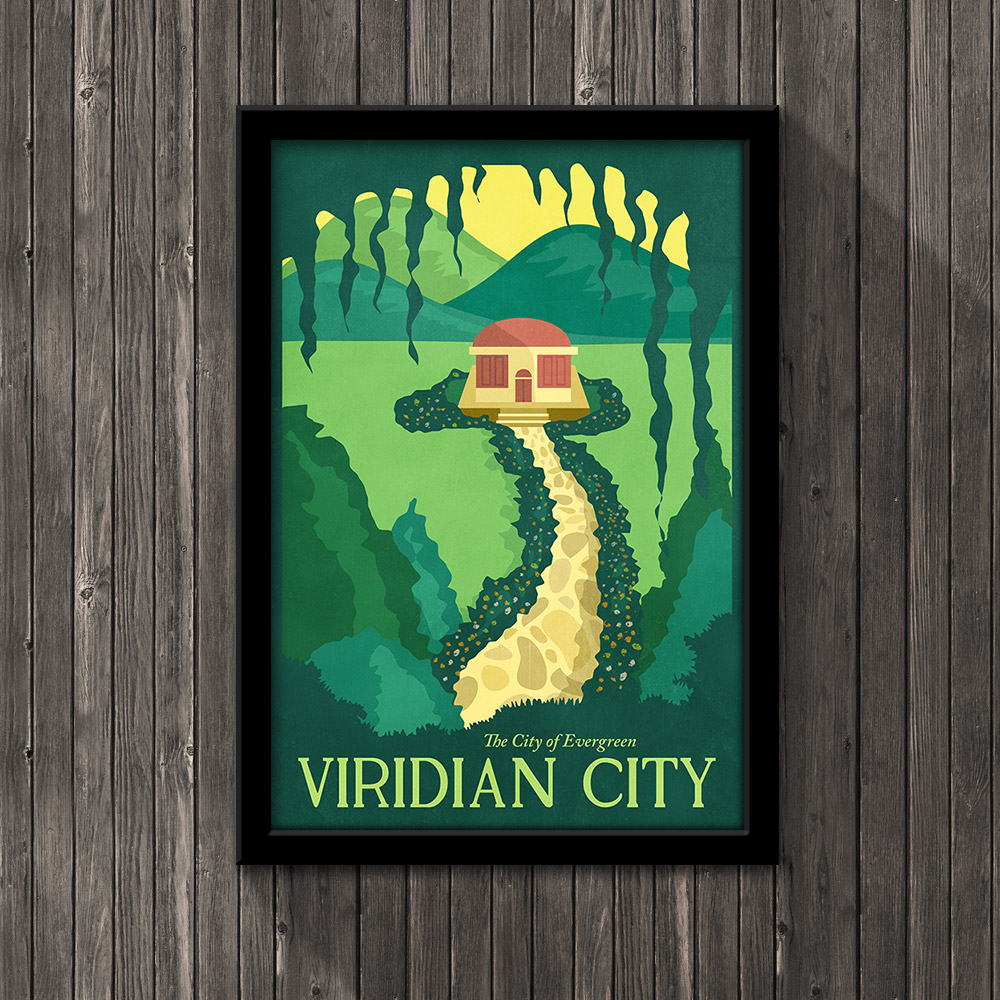 Pokemon Travel Poster - Viridian City · Little Pixel Posters ...