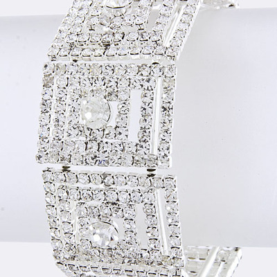 Crystal rhinestone statement stretch bracelet bridal wedding jewelry