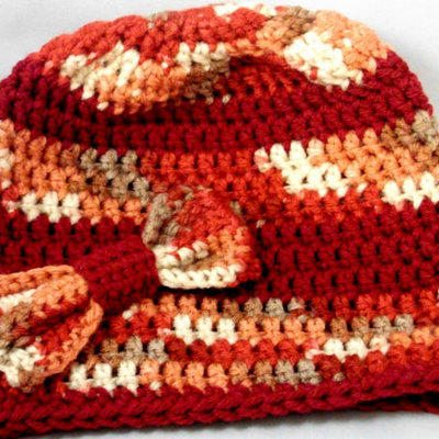 Multicolored crochet beanie