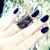 Filigree Knuckle Ring Midi Ring Adjustable Three color choices - Thumbnail 2