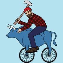 Paul Bunyan on blue ox bike, 5x5 print