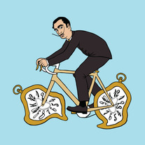 Salvador Dali riding bike with melting clock wheels, 5x5 print