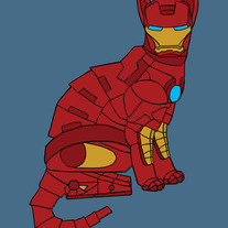 Iron Man cat, 5x7 print
