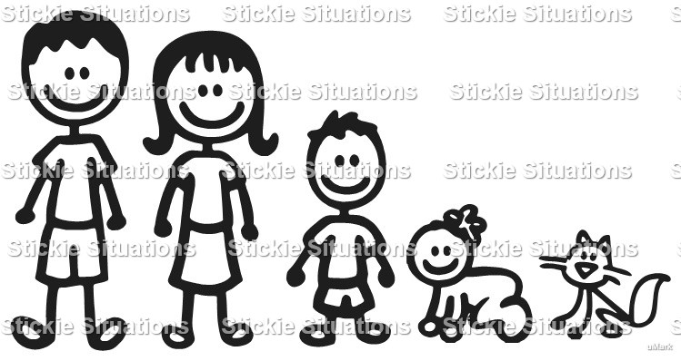 Stick Family Car Decal Design Stickie Situations Online - Family car sticker decals