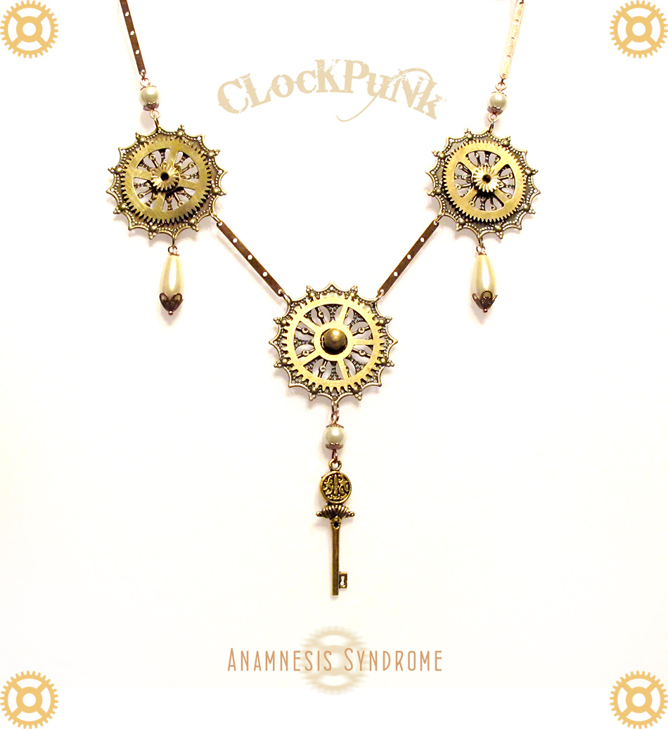 Clockpunk Steampunk Necklace with Golden Key · Verope\'s Anamnesis ...