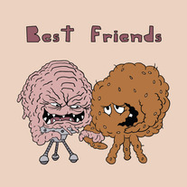 Krang and Meatwad are best friends, 5x7 print