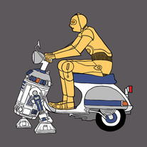 C3P0 riding R2D2 power assisted Vespa, 5x5 print