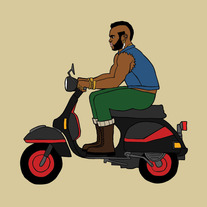 Mr. T riding a Vespa, 5x5 print