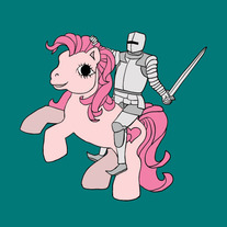 Knight riding my little pony, 5x5 print