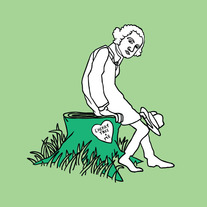 George Washington sitting on giving cherry tree stump, 5x5 print