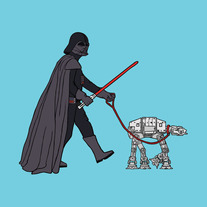 Darth Vader walking imperial walker, 5x5 print