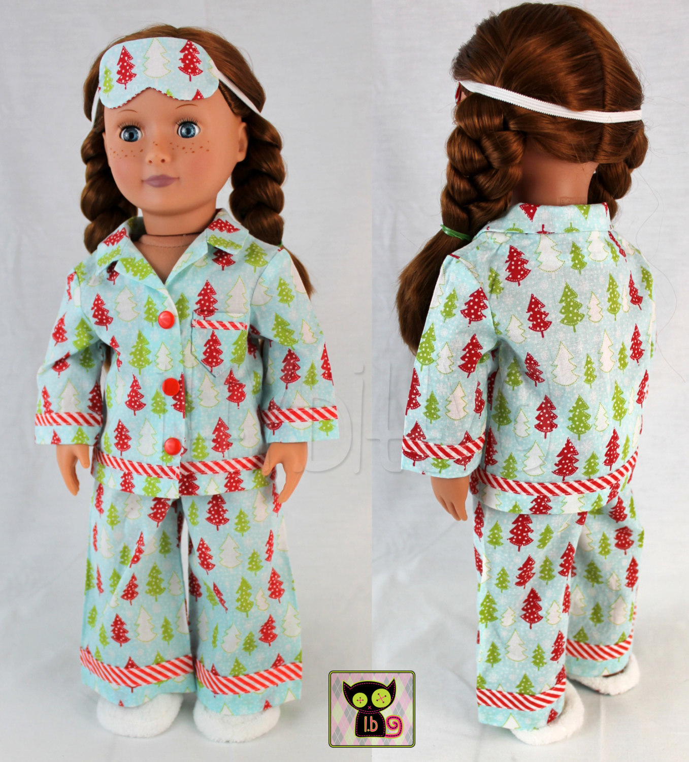 """5 Piece Christmas Pajamas Set for American Girl 18"""" Dolls by itty"""