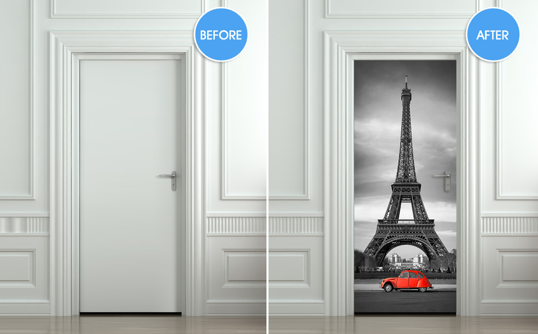 Wall Door Sticker Eiffel Tower Red Car Mural Decole Film Self Adhesive Poster 30x79 Quot 77x200cm