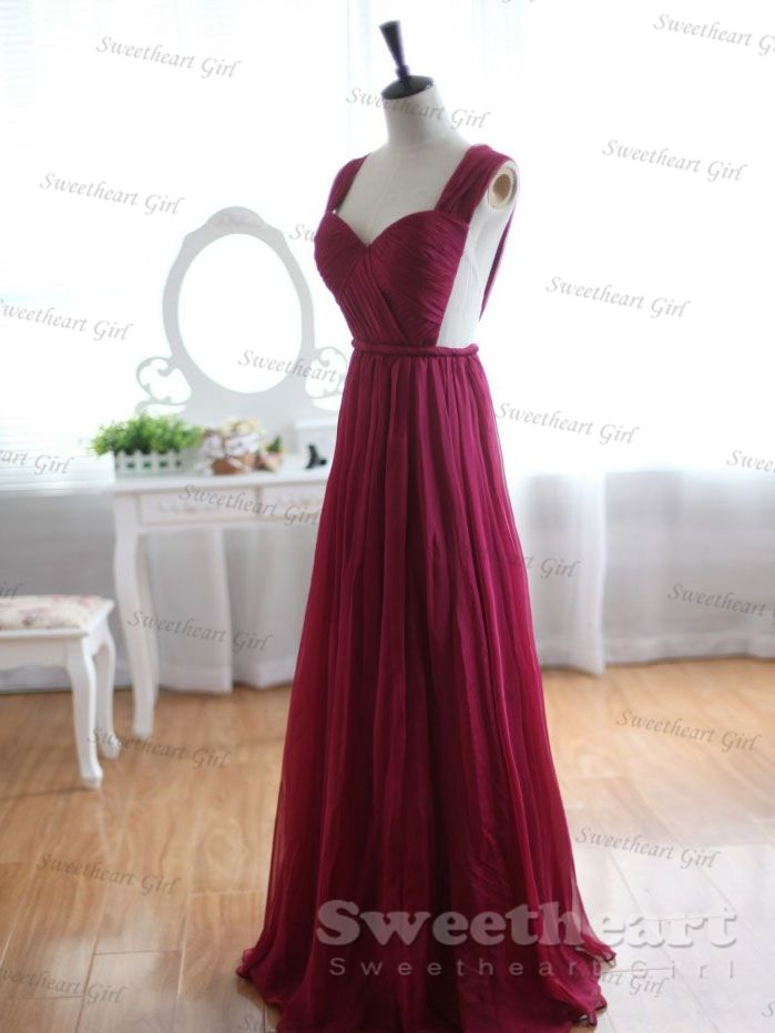Sweetheart Girl Custom Made Wine Red A Line Chiffon