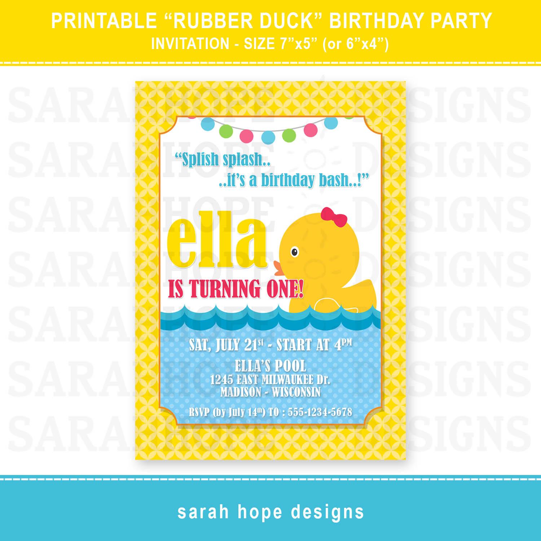 sarah hope designs rubber duck birthday invitation 5x7 4x6