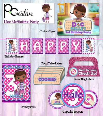 image about Doc Mcstuffins Printable Labels titled Document McStuffins Bash Printable against P.Innovative