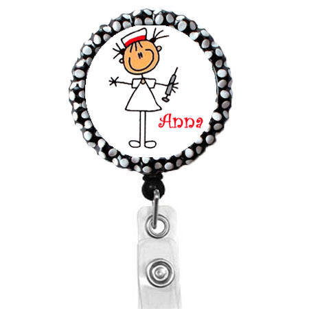 Personalized Stick Needle Nurse Name Badge Holder Cute