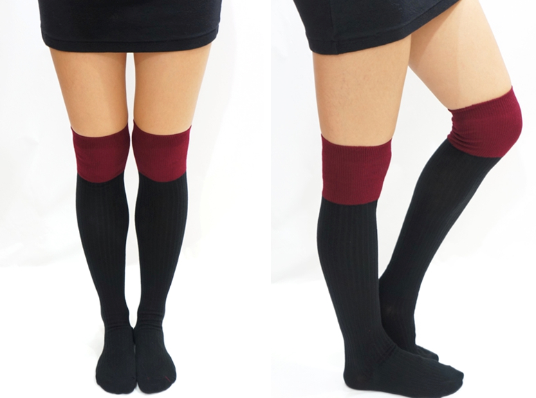 65abd0dd8 ... Two Tone Knitted Thigh High Knee Socks - Purple - Thumbnail 2 ...