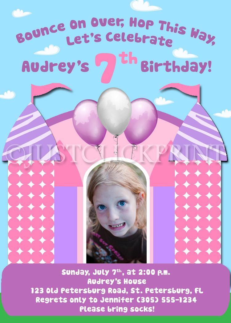 Bounce House Fun Zebra Girls Birthday Invitation Just Click Print