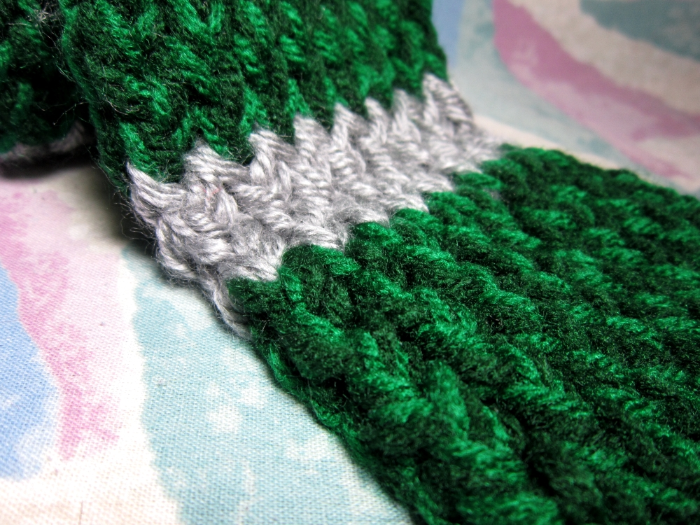 Harry Potter Scarf Knitting Pattern Slytherin : Harry Potter inspired knitted Slytherin green & silver ...