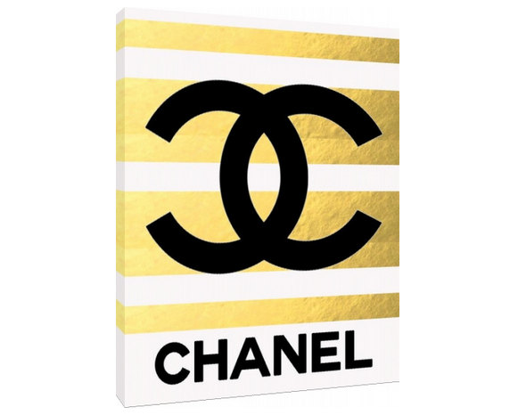 Gold Chanel Logo - Custom Fashion Art Priont - Customizeable Chanel - Home Decor - wall art - fashion art