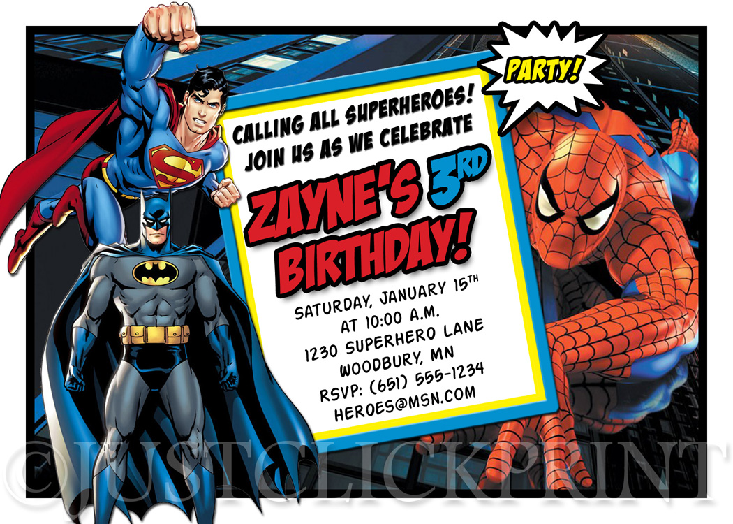 graphic regarding Printable Spiderman Invitations identified as Superheroes Batman Superman Spiderman Birthday Invitation Printable in opposition to Particularly Click on Print