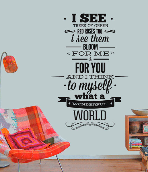 louis armstrong wall quote sticker wonderfull world wall decal