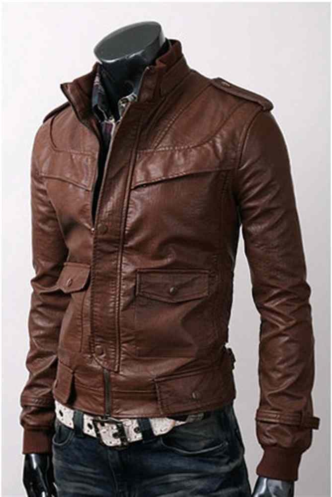 e02aaa7a9 Mens Slim Fit Hand Made Korean Style brown Leather Jacket Fashion ...