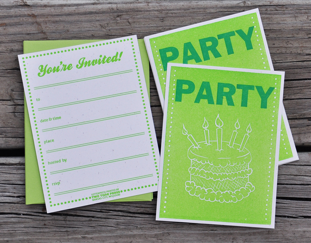 Green fill in the blank birthday party letterpress invitations 10 party set sm original filmwisefo