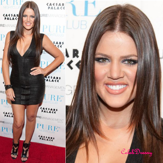 Khloe Kardashian Backless Foil Printed Black Bandage Dress