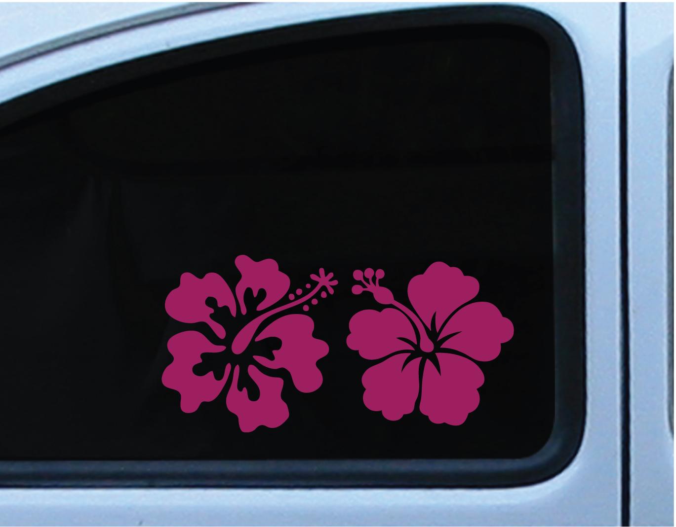 Hibiscus flower set of 2 decal vinyl die cut stickers 5 inch in hibiscus flower set of 2 decal vinyl die cut stickers 5 inch in multiple of different izmirmasajfo
