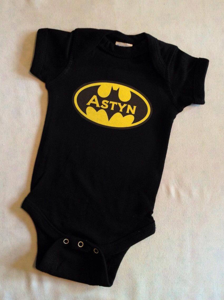 81c305cf7 Personalized Batman Baby Bodysuit, Batgirl or Batman Superhero Baby ...