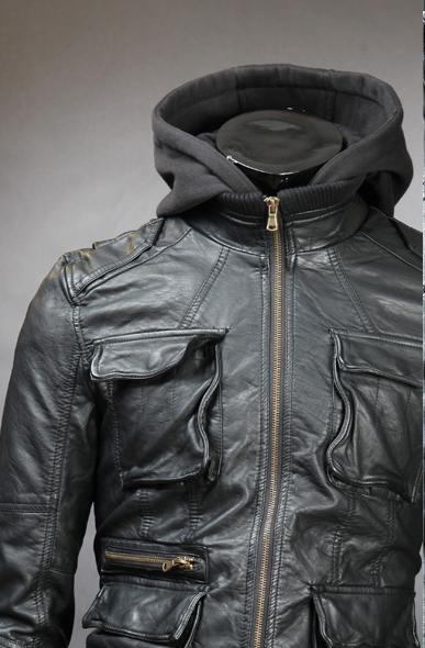 Men Detachable Fabric Hooded Leather Jacket 183 Rangoli